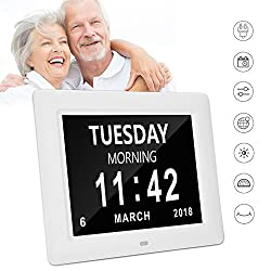 yiiyaa Day Clock Digital LED Wall Clock Calendar Alarm Clock 8 Extra Large Impaired Vision 3 Medicine Reminder Display Clock for Memory Loss Elderly Seniors