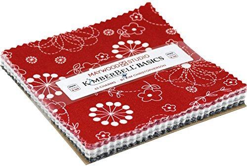 KimberBell Basics Black White & Red Charm Pack 42 5-inch Squares Maywood Studio