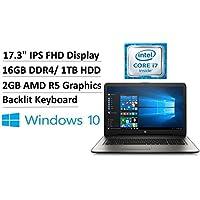 2017 Flagship HP 17.3 Full HD IPS WLED-Backlit Laptop, Intel Core i7-7500U up to 3.5GHz, 16GB DDR4, 1TB HDD, 2GB AMD R5 Graphics, HD Webcam, DVD Burner, Backlit Keyboard, 802.11ac, Bluetooth, Win 10
