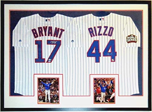 Kris Bryant   Anthony Rizzo 2 Signed Chicago Cubs 2016 World Series Jerseys  - Fanatics   MLB COA Authenticated - Professionally Framed   2 Last Out  8x10 ... e2eac3a2c