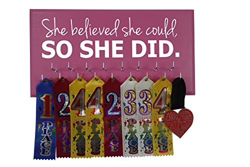 Medal Pink Ribbon - Medal Display - SHE Believed SHE Could, SO SHE DID - All Sports - Running - Gymnastics - Swimming - Cheerleading - Soccer
