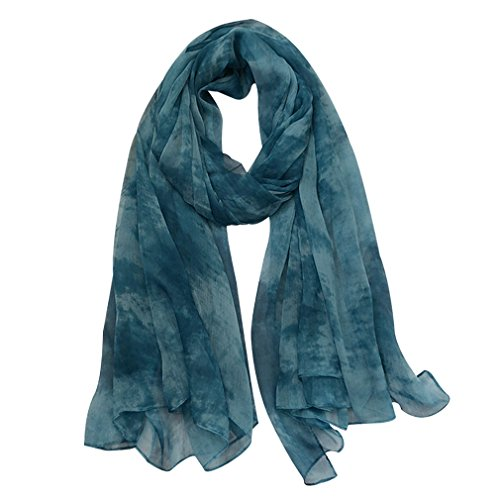 GERINLY Sheer Wraps for Sleeveless Skirts Stylish Tie Dye Scarf (Blue)