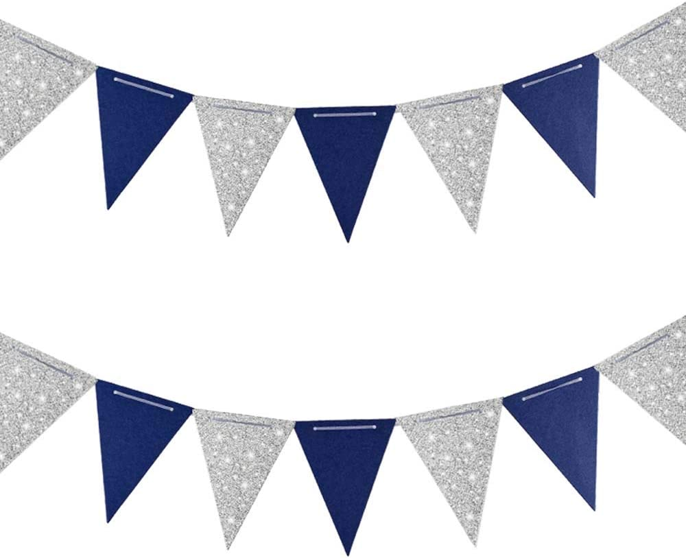 Aimto 20 Feet Navy Blue and Silver Triangle Flag Banner for Dallas Cowboys Party Decorations,30pcs Flags