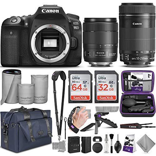 Canon EOS 90D DSLR Camera and Canon EF-S 18-135mm f/3.5-5.6 is USM + EF-S 55-250mm f/4-5.6 is STM Lens with Altura Photo Complete Accessory and Travel Bundle from Canon