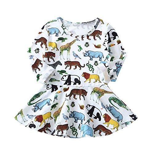 Dress Princess Girl Flower Eden - Kids Little Girls Dresses Cartoon Animal Printed Long Sleeve Princess Casual Dress Children Clothes