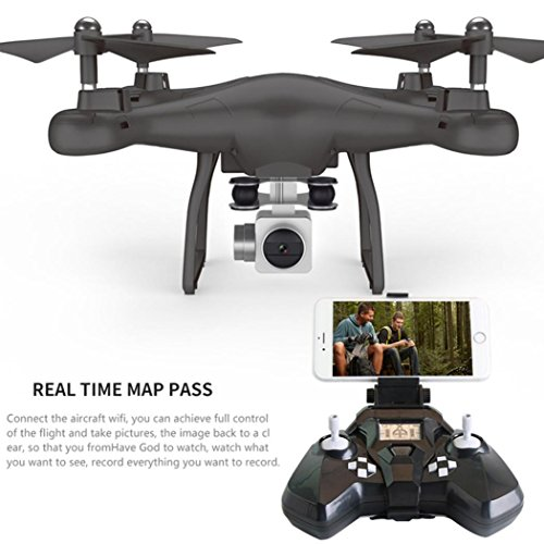 WARMSHOP RC Quadcopter With 120° Wide Angle Real-Time Transmission HD Camera Drone Helicopter (Black) by WARMSHOP