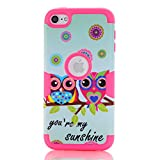 iPod Touch 5 case,iPod Touch 6 Case,Rosepark(TM) [Owls Pattern] 3-Piece Style Hybrid Shockproof Hard Case Cover for Apple iPod Touch 5 6th Generation(Hot Pink),with Screen Protector+Stylus