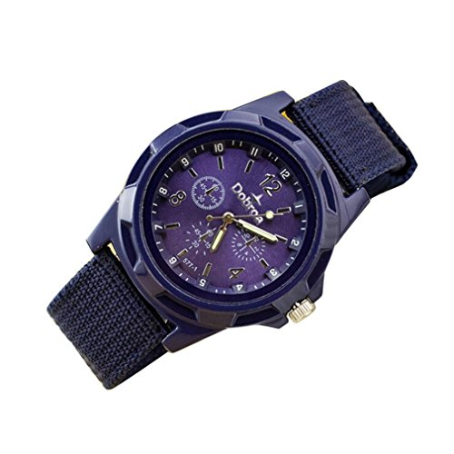 Hometom Men's Fashion Braided Canvas Belt Watch Analog Wrist Watch Sport (purple) (Collection Braided Belt)