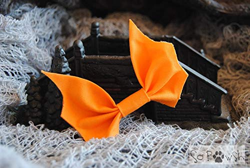 Orange Bat Bow Tie Pet Collar Accessory
