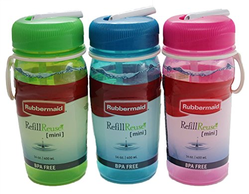 Rubbermaid Mini Refill Reuse Sip Bottle, 14-ounce, Set of 3, Blue, Green, Pink, One each