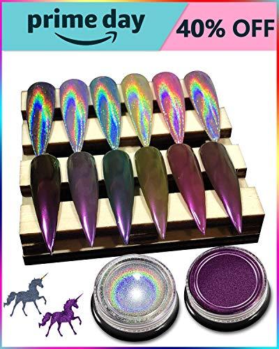 Holographic Nail Powder - [ 2 Jars ] Chrome Nail Powder, Premium Salon Grade Rainbow Unicorn Holographic Powder & Mirror Effect Multi Chrome Manicure Pigment, 0.04oz/ 1g Per Jar ()