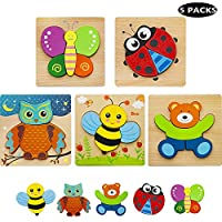 HZONE Wooden Jigsaw Puzzles for Toddlers 1 2 3 Years Old, (5 Pack) Early Educational Toys Gift for Boys and Girls with 5 Cute Patterns, Bright Vibrant Color Shapes