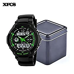 XFCS Waterproof Wrist Digital Automatic Watches For Men Digitais Watch Running Mens Man Digitales Clock(With Retail Metal Box)-Green