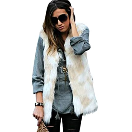 11d33b9921e KFSO Women s Soft Sleeveless Faux Fur Vest Coat Waistcoat Jacket (Beige