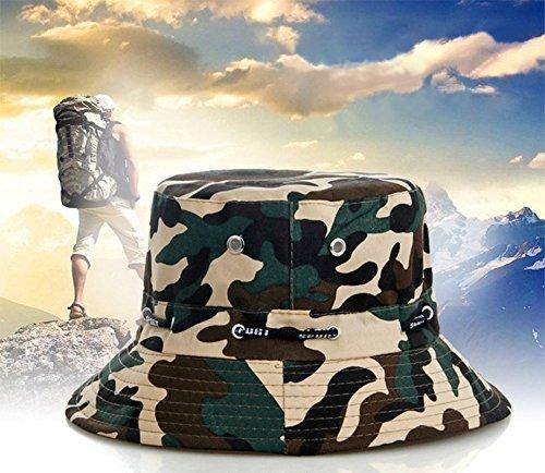 Fliyeong Camouflage Sun Hat Unisex Seattle Adjustable Bucket Hat Foldable Fishing Hat Durable and Useful