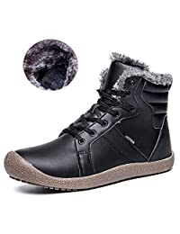 Men Slip-On Snow Boots Fully Fur Lining High Top/Low Top Winter Shoes for Indoor/Outdoor/Hiking/Travel/Casual/Slipper