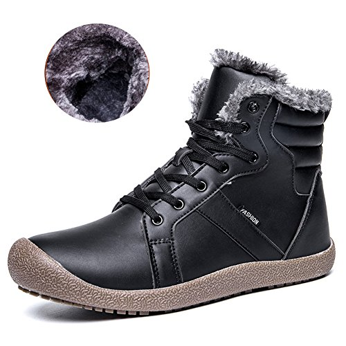 Men Winter leather Snow Boots Fully Fur Lining Lace Up High Top Winter Shoes for Indoor/Outdoor/Hiking/Travel/Casual/-black48