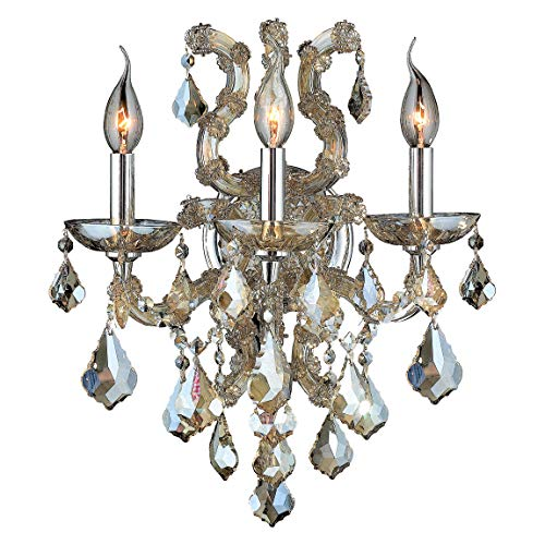 Worldwide Lighting Lyre Collection 3 Light Chrome Finish and Golden Teak Crystal Candle Wall Sconce 15