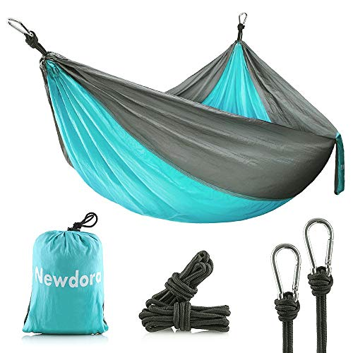 Newdora Camping Hammocks Garden Hammock Ultralight Portable Nylon Parachute Multifunctional Lightweight Hammocks with 2 x Hanging Straps for Backpacking, Travel, Beach, Yard ()