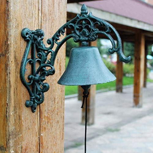 風鈴ヴィンテージ鋳鉄ハンドドアベル錬鉄時計庭ヨーロッパの家の壁掛け装飾28×14.5×28.5センチ鋳鉄ドアベル