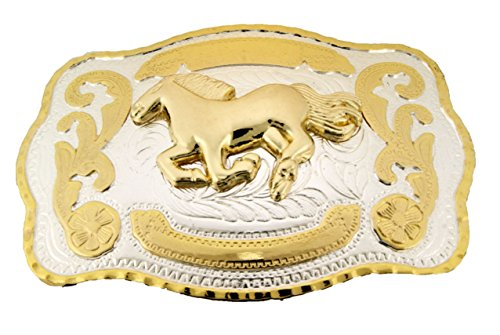 """Big Horse Belt Buckle Western Cowboy Cowgirl Rodeo Texas Usa Style Silver Gold (Running Horse Two Tone Sq Size 5.50""""W & 4.0"""" H)"""