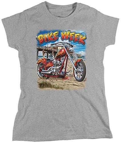 Bike Week, Motorcycle, Chopper Women's T-shirt, Amdesco, Athletic Heather Gray (Bike Week Chopper Motorcycle T-shirt)