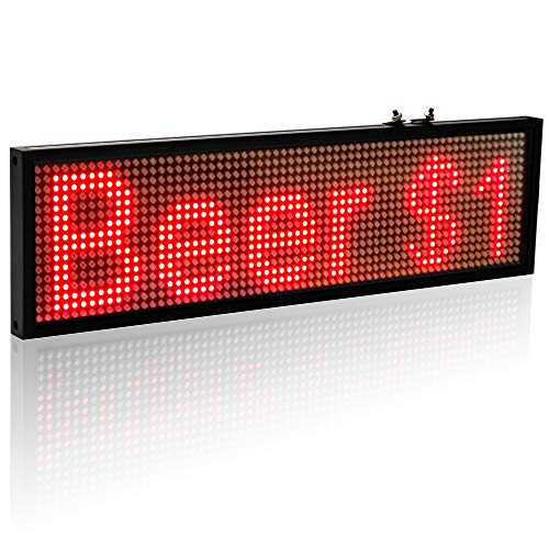Leadleds 1664R Red LED Sign Board, P5 WiFi Scrolling LED Signs Indoor for Storefront, Shop, ()