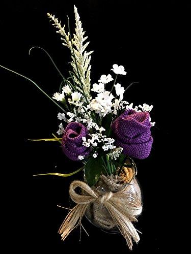 Wedding Table Centerpieces. Burlap Flower arrangements. 6 Vases. ()