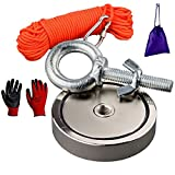 Mutuactor Super Strong Fishing Magnets 660lbs Vertical Pull Force, Powerful Retrieval Neodymium Magnet N52 with 20m (65 feet) Durable Rope Protective Gloves Magnet Fishing Underwater Metal Treasure Salvage Magnet in Water