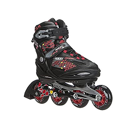 Roces 400792 Men's Model Moody 4.0 Adjustable Inline Skate, US 13jr-3, Black/Astro Blue/Red : Sports & Outdoors