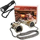 HQRP Theatre Kit: 3 x 25 Golden Opera Glasses w/Crystal Clear Optic (CCO), Silver Trim & Necklace Chain + Professional Compact Ultra Bright Flashlight