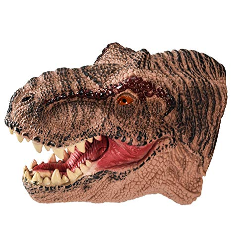 DLseego Dinosaur Hand Puppets Toys Soft Rubber Realistic Spines Dragon Role Play Toy for Kids and Adult-Tyrannosaurus-Brown
