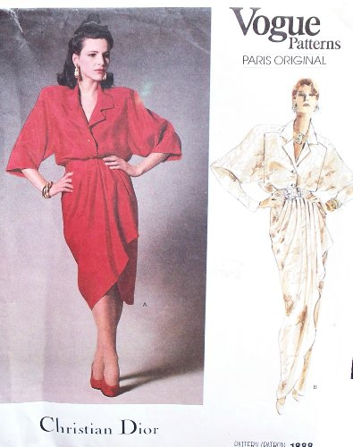 Rare, OOP 1987 Vogue Paris Original Pattern 1888. CHRISTIAN DIOR Designed: Misses Szs 8;10;12 Dress With Wrap ()