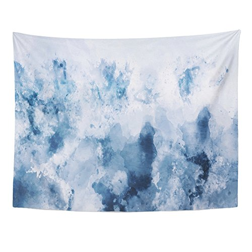 (Emvency Tapestries Print 60x80 Inches Cold Abstract Watercolor in Blue Silver Gray Tone Digital Painting Cool Wall Hangings Home Decor)