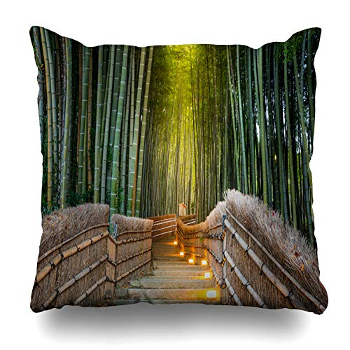 Suesoso Decorative Pillows Case 18 X 18 inch Green Jungle Bamboo EST Abstract Nature Plant Leaf Throw Pillowcover Cushion Decorative Home Decor Nice Gift Garden Sofa Bed Car -