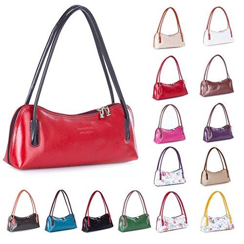 Big bolso Shop para mujer piel auténtica pequeño bolso bandolera embrague noche bolsa de hombro Purple - Brown Trim