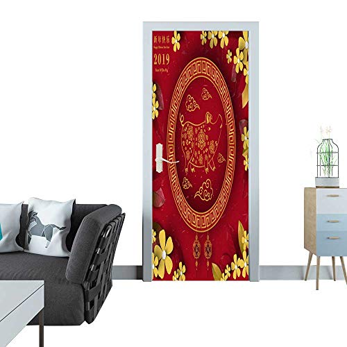 glass door sticker decals Happy Chinese New Year 2019 year of the pig paper cut style Chinese characters mean Happy New Year wealthy Zodiac sign for greetings card flyers invitation posters brochure