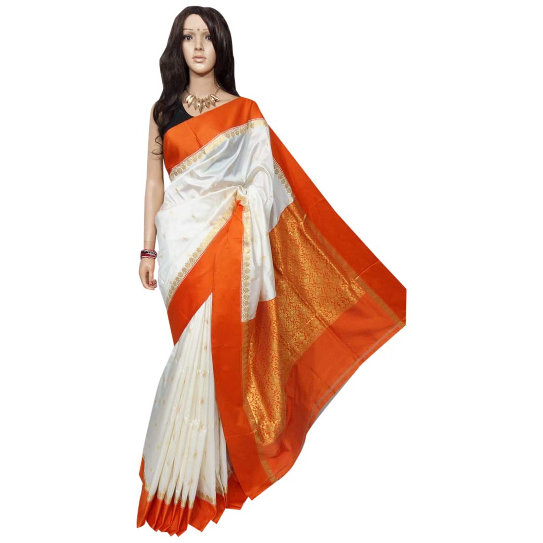Indian Saree Ethnic White orange Silk Sari Designer Collection Sari Party Formal Women Wear 106a