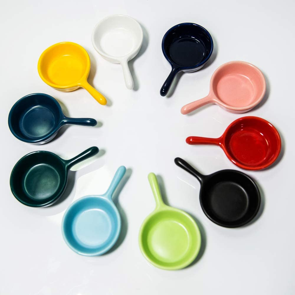 LITHE Small Bowls Soy Sauce Dish Side Dipping Condiment Server Asian Pinch Japanese Mini Cup 10Pcs Ceramic Sushi Snack Appetizer Plate Set Colors Salsa Tray with Handle, Dishwasher and Microwave Safe