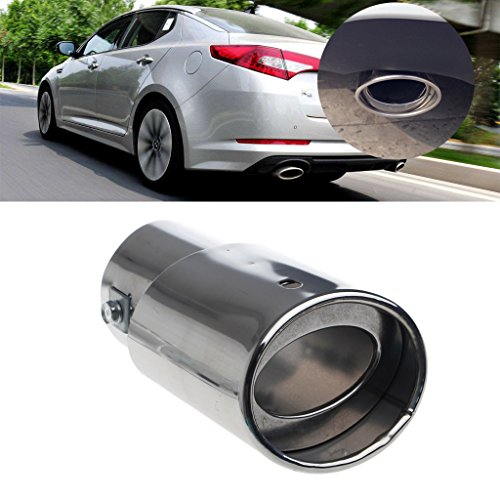 Autone Universal Stainless Steel Car Rear Round Exhaust Pipe Tail Throat Muffler Tip