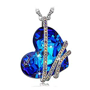 "QIANSE *Heart of the Ocean* Engraved ""I love you""Pendant Necklace made with SWAROVSKI Crystal"