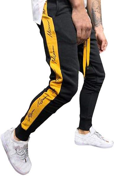 VPASS Pantalones para Hombre, Impresión de Letras Pantalones ...