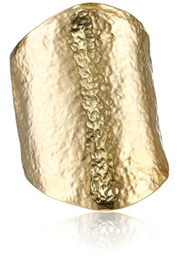 Kenneth Jay Lane Satin Gold Hammered Cuff Bracelet
