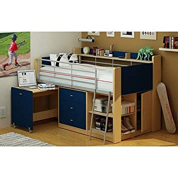Kids Loft Twin Bed With Desk Bedroom Furniture Navy And Natural
