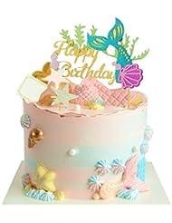 JeVenis Glitter Mermaid Cake Topper Happy Birthday Cake Picks Mermaid Cake Decoration for Mermaid Baby Shower Birthday Party Supplies