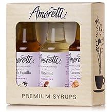 Amoretti Premium Sugar Free Classic Flavorings 1.7 fl oz 3 pack bottles (SF French Vanilla, SF Caramel, SF Hazelnut)