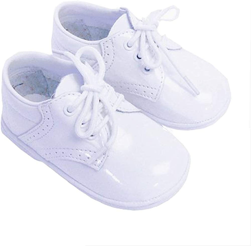 Infant Baby Boys Patent White Classic Saddle Style Dress Shoes Size 7