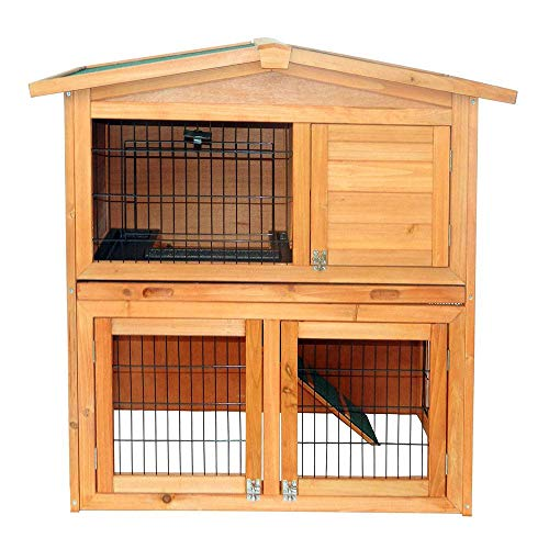 HUASHENGXU 40″ Triangle Roof Waterproof Wooden Rabbit Hutch A-Frame Pet Cage Wood Small House Chicken Coop Natu