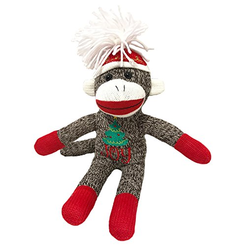 Sock Monkey Plush by ColorBoxCrate 12 inch Classic Brown Sock Monkey with Christmas Tree Joy Stitching - Red Sock Monkey Hands and Feet with Red Pom Pom Tossle Cap - Stocking Stuffer Christmas Gift
