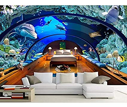 Xzfddn 3D Fondo De Pantalla Personalizado Mural 3D Fondo De Pantalla Acuario Mundo Submarino Fondo De